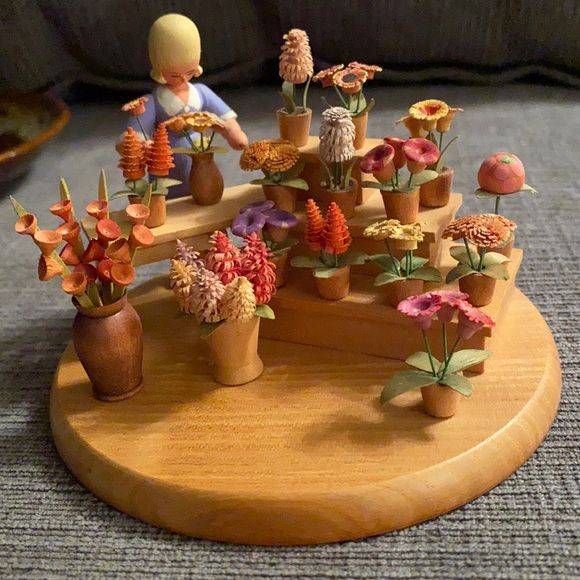 Thorens Swiss hand carved wood top to a music box